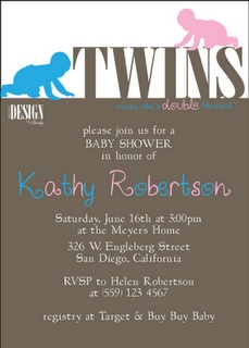 TWINS baby shower invitations! boy and girl!