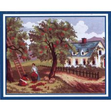 Collection D'Art 6.187 Autumn Apple Picking Tapestry Canvas