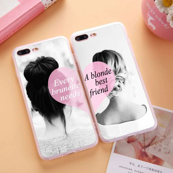 Flexible Silicon Clear TPU BFF Best Friends Brunette Blonde Sisters Girly Case For Apple iPhone 4S 5C 5 5S SE 6 6S 7 Plus