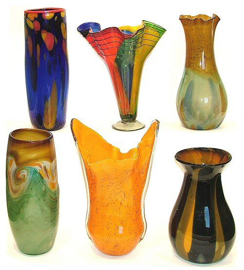mexican hand blown art glass vases - Decorative Glass Vases