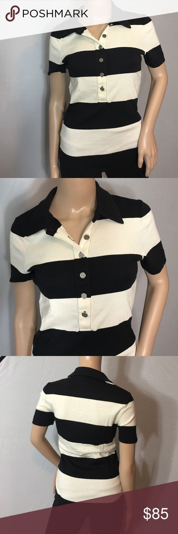 Tory Burch Striped Polo • Sz S Super cute black & white large striped polo by Tory Burch • All buttons have her trademark logo • All cotton and super soft • Great piece to have in your wardrobe!! Tory Burch Tops