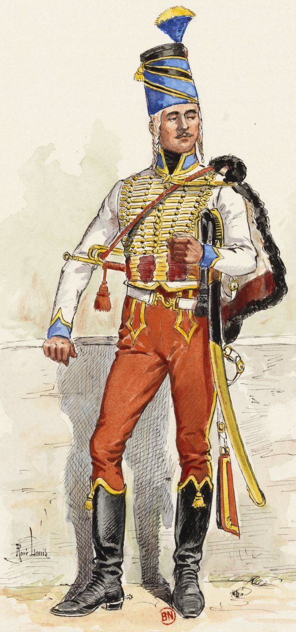 "French;5th Hussars,Trumpeter, 1793 by René Louis, in ""Uniformes des régiments de hussards français.Vol. I. - 1er-6e hussards""; Bibliothèque nationale de France,"