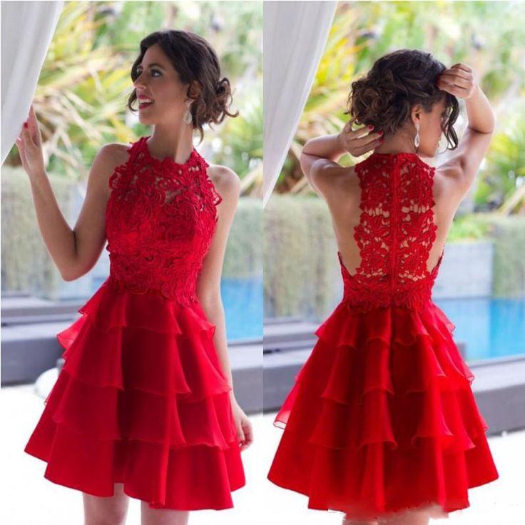 2017 Uroczy Czerwony Koktajl Sukienki W Stylu Vintage Koronki Krótki Mini Formalne Suknie Jewel Neck Szczeble Organza Kolano Długość Krótki Strona Suknia(China (Mainland))