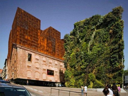 Herzog & de Meuron, CaixaForum, Madrid, green renovation, patrick blanc, living wall, art museum