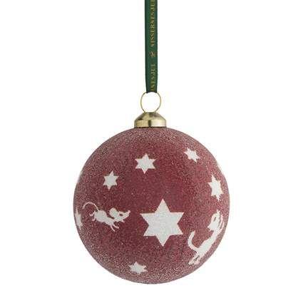 NJ, Julekugle,  stjerner/rød/glitter