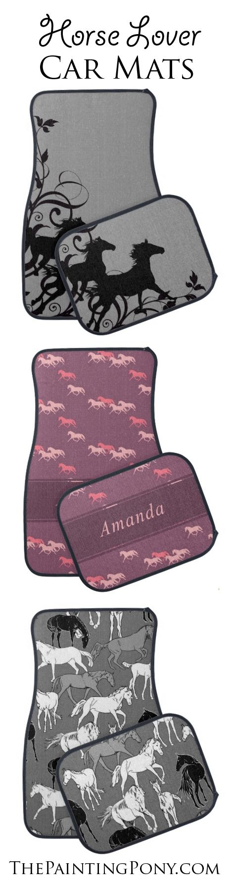Equestrian Car & Truck Floor Mats - horse lover themed auto floormats - anyone who loves horses, ponies, and horseback riding from hunter jumper, dressage trainer to the cowgirl style barrel racing and reining rider will love these great floor mats for the car. Equestrian style! Personalized too!