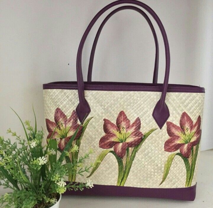 Purple Lily Painting - Woven Bag