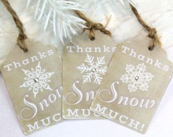 Rustic Snowflake Thank You Tags Gift Tags Party Favor Country Burlap Baby It's Cold Outside Wonderland Party theme baby Baby Shower Birthday