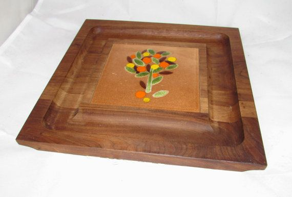 Vintage Wooden Cheese Plate Platter Enamel Copper by PuppyLuckArt