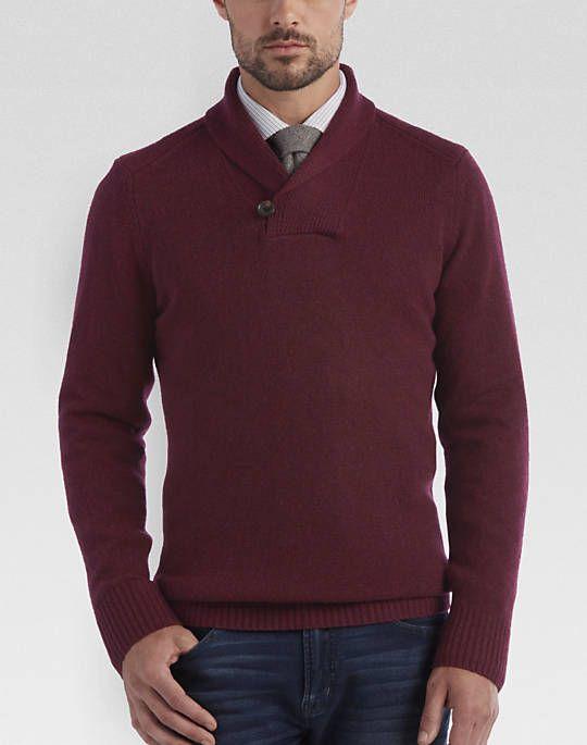 Joseph Abboud Burgundy Shawl Collar Sweater - Mens Sweaters and Vests, Joseph Abboud Collection - Men's Wearhouse