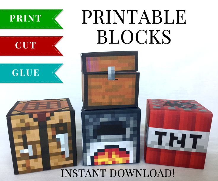 This set of Minecraft Printable Papercraft Blocks include Chest, Crafting Table, Furnace and TNT Block. These have so many uses and kids absolutely love them!
