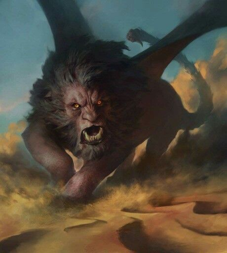 """Manticore.  """"The Manticore is a Persian monster whose name means """"Man-eater"""", it has the body of a red lion, a human head with three rows of sharp teeth and a trumpet-like voice. Other aspects of the creature vary from story to story. It may be horned, winged, or both. The tail is that of either a dragon or a scorpion, and it shoots poisonous spines to paralyse and kill its victims. It devours its prey whole and leaves no clothes, bones, or possessions of the prey behind."""""""