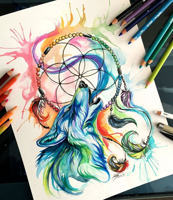 Marker Drawing - Watercolor Pencil Animals By Katy Lipscomb
