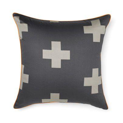 Crosses Charcoal European pillowcase