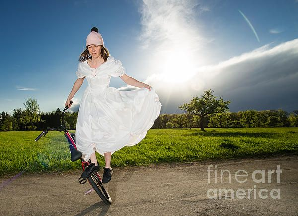 BMX Flatland bride Monika Hinz Germany in beautiful white wedding dress on her bike - cool and elegant. Click here to purchase a poster, print or canvas print starting $32: http://matthias-hauser.artistwebsites.com/featured/bmx-flatland-bride-in-white-wedding-dress-matthias-hauser.html  Watermark will not appear on final product. 30 days money back guarantee. More BMX Flatland Photography? Click here: http://matthias-hauser.artistwebsites.com/art/all/bmx+flatland/all