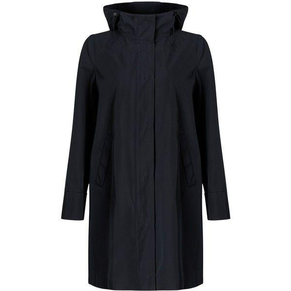 Weekend MaxMara Nilly Raincoat, Ultramarine (€405) ❤ liked on Polyvore featuring outerwear, coats, long sleeve coat, hooded rain coat, mac coat, rain coat and weekend max mara