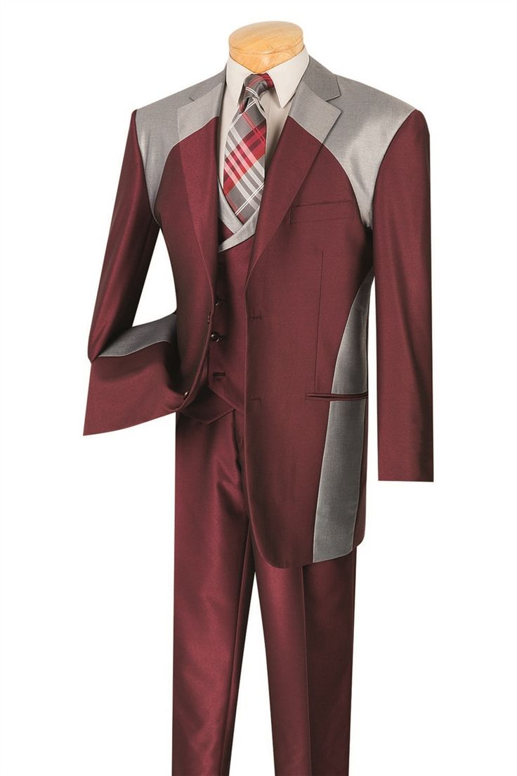 MAROON SUIT MEN'S FASHION SUITS CLASSIC-FIT WITH DOUBLE BREASTED VEST NEW