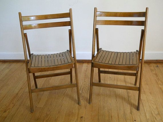 Antique Wooden Folding Chairs VIntage Midcentury by TheNewtonLabel, $59.00