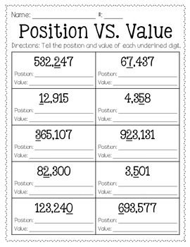 Use this FREEBIE as a tool to help your students practice destingusing between the value of a digit and the position of a digit. Enjoy!