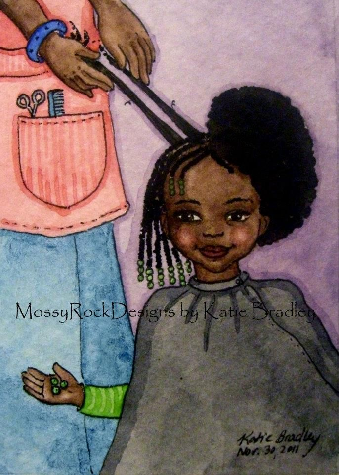 Black Grandma Combing Daughter S Hair Painting
