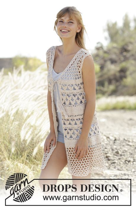 "Crochet DROPS vest with A-shape, lace pattern and ties in ""Belle"". Size S-XXXL. Free pattern by DROPS Design."