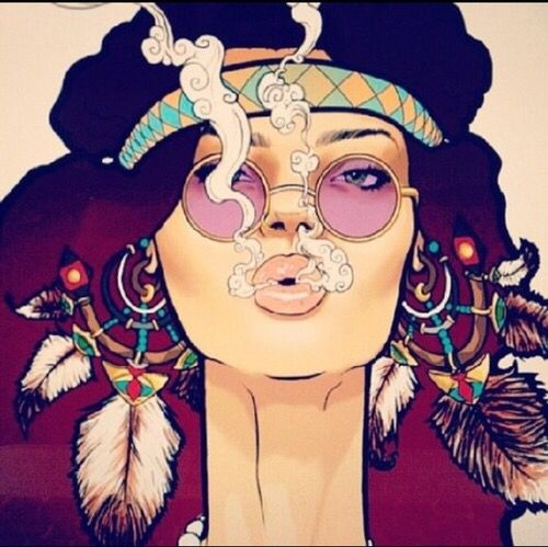 Hippie girl smoking art