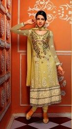 Awesome Embroidery Work In Yellow Color Anarkali