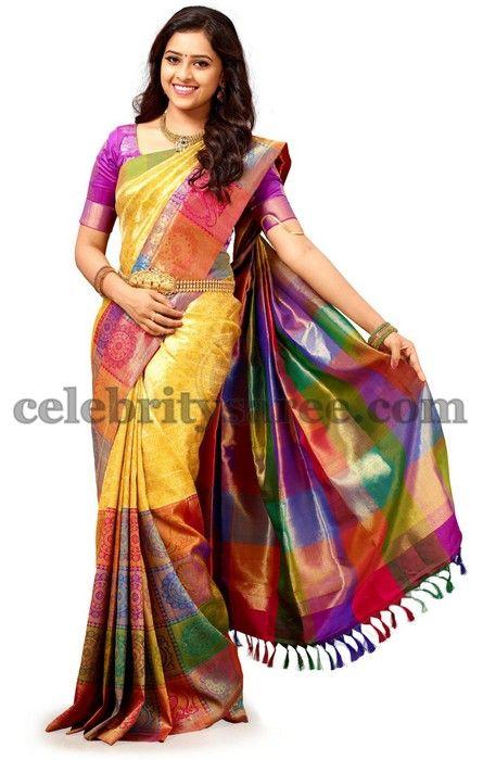 Sri Divya Mustard Saree | Saree Blouse Patterns