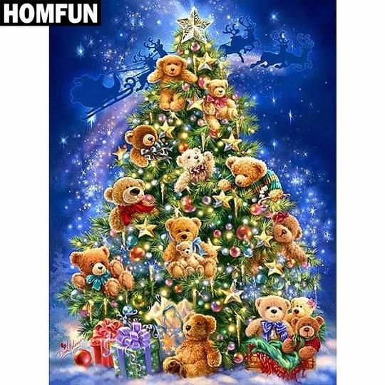 5d Diamond Painting Teddy Bear Christmas Tree Kit With Images Diamond Painting Christmas Tree Kit Painting