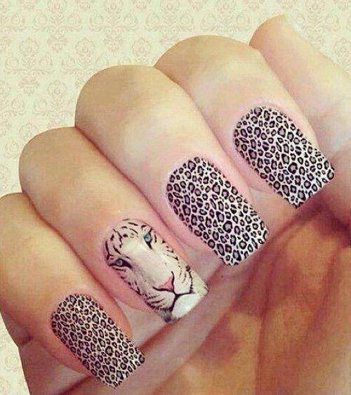 Pictures Of Tiger Cheetah Nail Art
