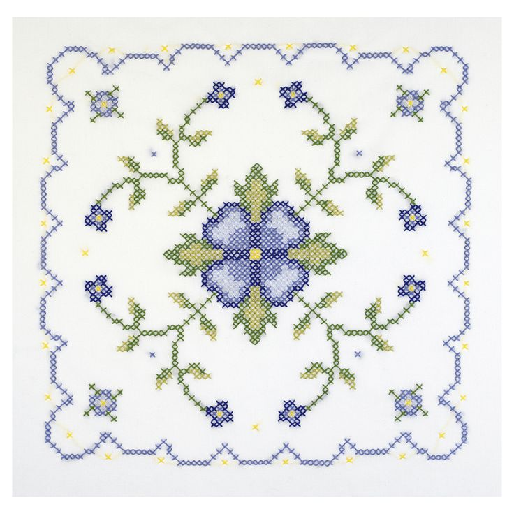 Janlynn Blue And Geometric Quilt Blocks Stamped Cross Stitch