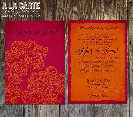 Indian Style Wedding Invitation by alacartestudio on Etsy, $15.00