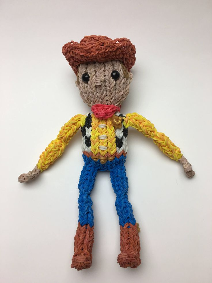 Disney's Woody Rubber Band Figure, Rainbow Loom Loomigurumi, Rainbow Loom Disney by BBLNCreations on Etsy Loomigurumi Amigurumi Rainbow Loom