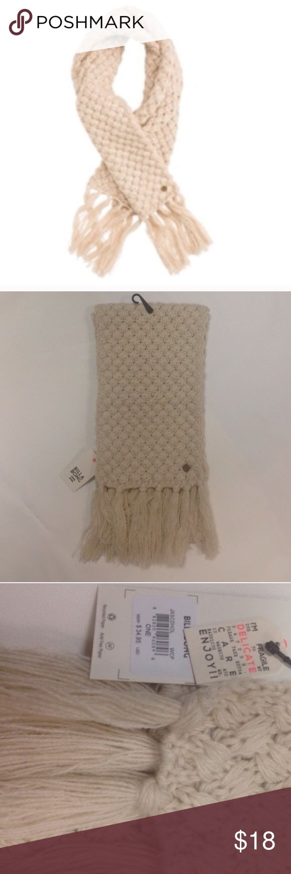 "NWT Billabong Tan Fringed Scarf NWT.  Cozy tan/cream scarf with fringed ends.  100% Acrylic.  Approx measurements: 7.5"" wide 68"" long. Billabong Accessories Scarves & Wraps"