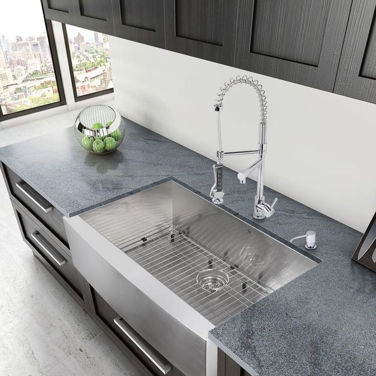 Vigo All In One 36 In Camden Stainless Steel Single Bowl Farmhouse Kitchen Sink With Pull Down Faucet In Chrome Vg15007 The Home Depot Farmhouse Sink Kitchen Apron Sink Kitchen Farmhouse Apron Kitchen