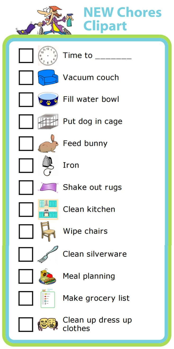 I've added 13 new images to the Chore Chart activity that you can use to make a picture checklist for your kids. There are now over 100 chores to choose from!
