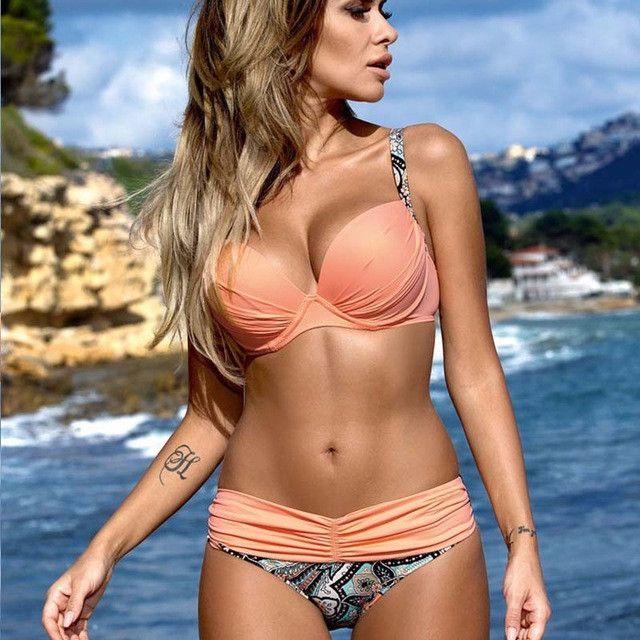 New Swimwear Women Bikini Candy Colors Swimsuits Bathing Suit Push Up Bikini Set Plus Size Swimwear Female Biquinis