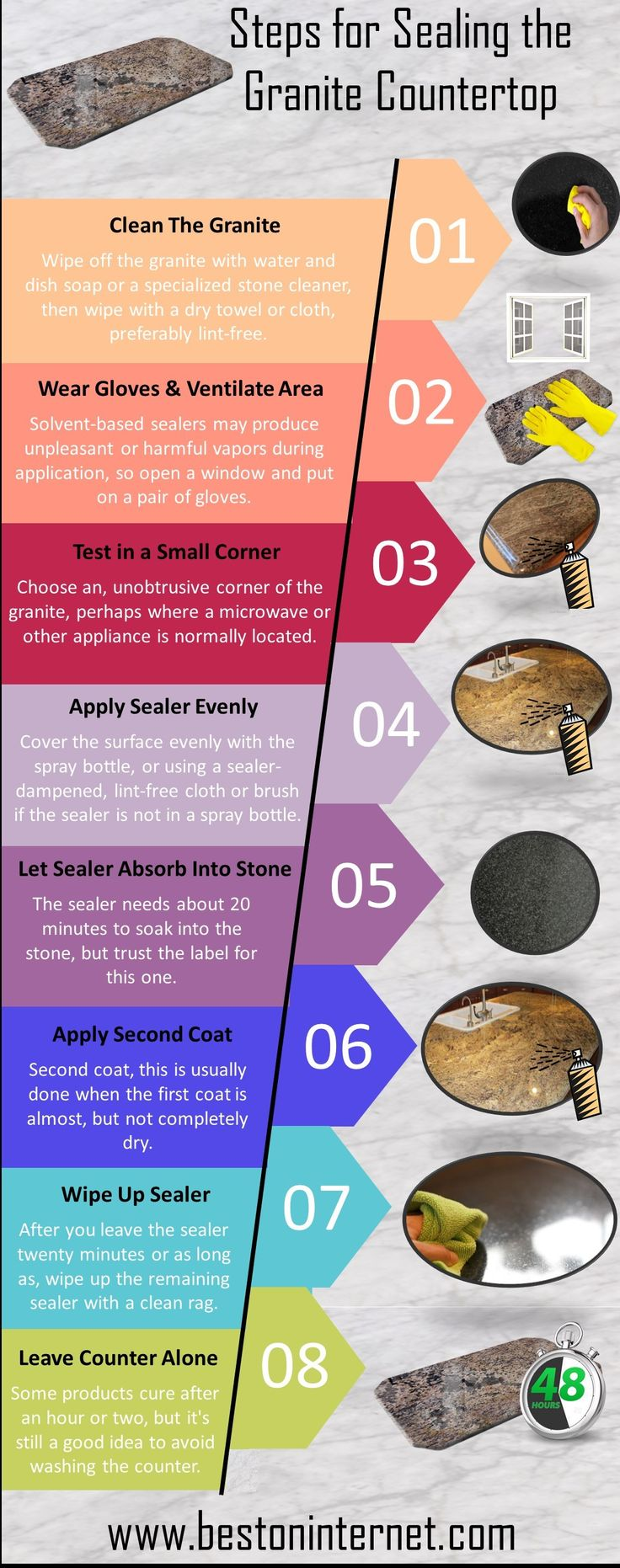 In this infographic, I have given steps for sealing the #GraniteCountertop. If you prevent stains on the granite countertop, you must be used Granite Countertop Sealer. http://www.bestoninternet.com/tools-home-improvement/household-supplies/granite-countertop-sealer-reviews/
