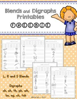FREE Blends and Digraphs PrintablesHere are 5 free printables that would be great for your sub tub, to supplement your blends and digraphs lessons or to use as an assessment.Students read the words in the word bank and then write the words next to the correct picture.Blends and Digraphs included are:- bl, cl, fl, gl, pl, sl- br, cr, dr, fr, gr, pr, tr- sc, sk, sl, sm, sn, sp, st, sw- ch, ph, sh, th, wh- kn, ck, ng, tchThese printables would go great with my Blends and Digraphs ~ Pocket Chart…