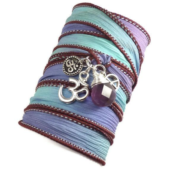 Hand Dyed Silk Wrap Bracelet with Silver Om by charmeddesign1012, $35.00