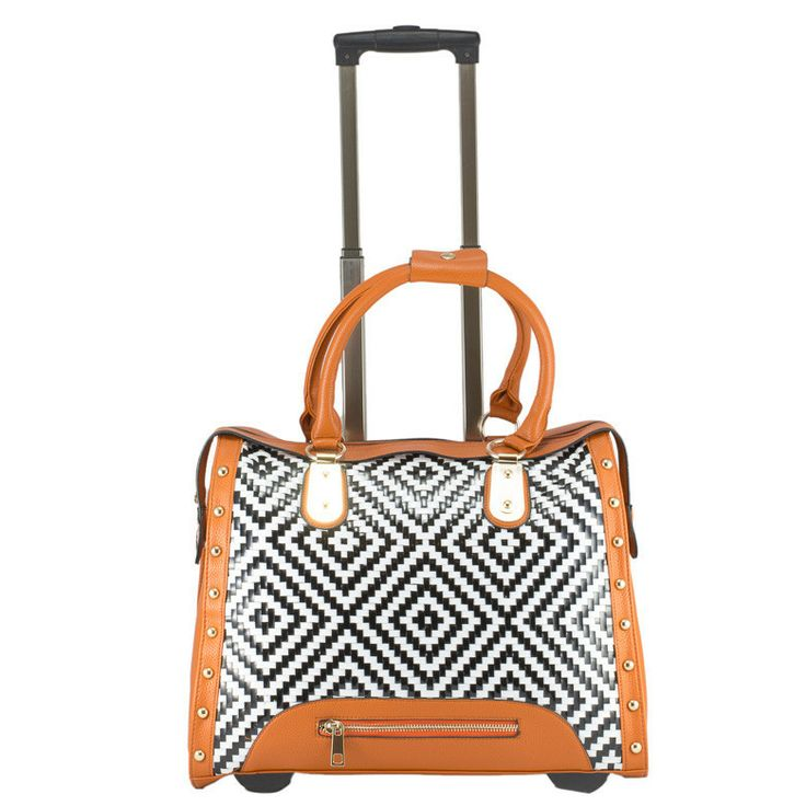 Zip Graphic Overnighter Bag on Wheels - Orange by Cadelle Leather available at www.seasonsemporium.com