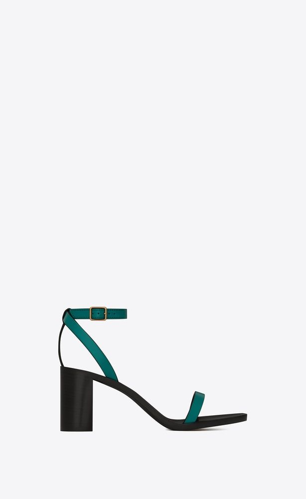 595ca1ac77 SAINT LAURENT Loulou Woman loulou 70 sandal in green painted leather ...