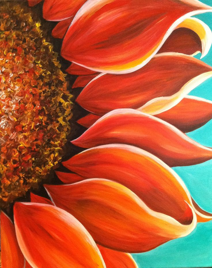 Red Sunflower Acrylic Painting. $150.00, via Etsy.