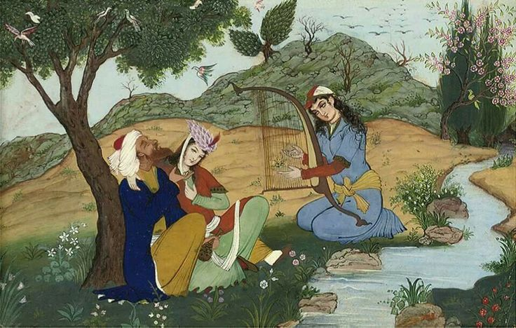 Miniature of a drinking scenr, Iran, early 19th century.