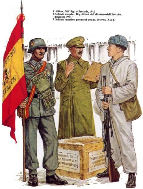 WEHRMACHT 250a Infanterie Division (Division Azul). Einheit spanischer Freiwilliger de la Wehrmacht - 1 Alfiere, 289° Reggimento fanteria, 1942 - 2 Soldato semplice, battaglione di Fanteria del Ministero dell'Esercito, 1941 - Soldato semplice, Plotone d'assalto, 1943