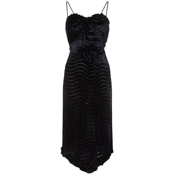 Preowned 1930s Black Silk Devore Velvet Dress With Spaghetti Straps ($695) ❤ liked on Polyvore featuring dresses, black, cocktail dresses, skater skirt, below the knee cocktail dresses, petite cocktail dress, spaghetti strap cocktail dress and pattern circle skirt