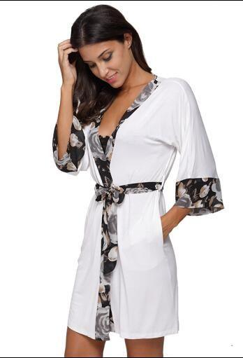 2018 Women Floral Trim Patchwork Modal Cotton Kimono Robe Sexy Lingerie Nightgown  Sleepwear Chemises Elegant Casual Spa Robes 6f1c5568b