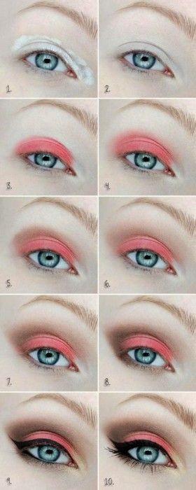 Tutorial de maquillaje para ojos en color coral
