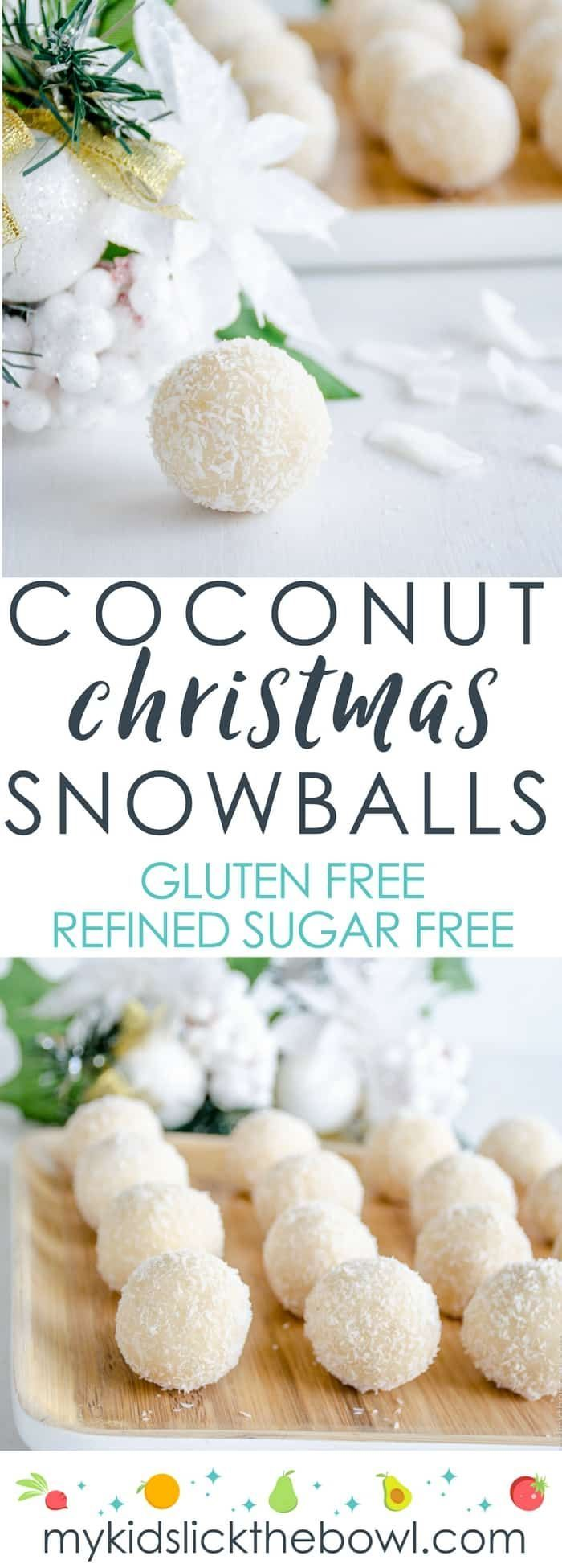 Christmas coconut snowballs, easy refined sugar-free recipe, an allergy friendly Christmas treat