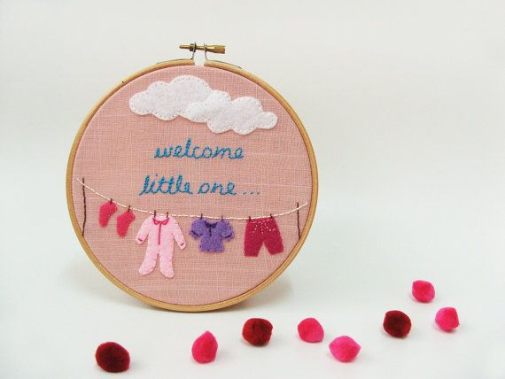 Baby girl nursery decor, Birth gift idea, Embroidery hoop wall art , baby shower gift Welcome little one MADE TO ORDER